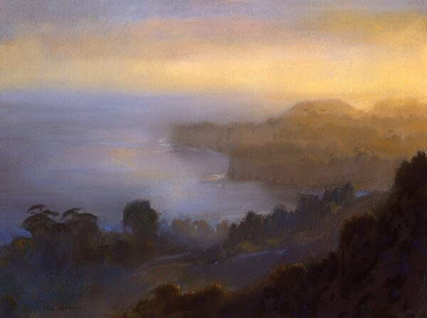 "American Legacy Fine Arts presents ""Afternoon Overlooking Point Dume from Latigo Canyon"" a painting by Peter Adams."