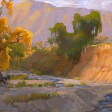 "American Legacy Fine Arts presents ""Arroyo Wash in front of Brown Mountain"" a painting by Peter Adams."
