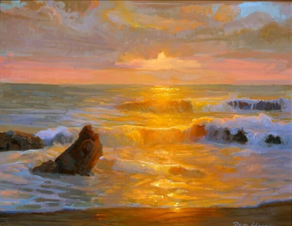 "American Legacy Fine Arts presents ""Autumn Sunset; Crystal Cove"" a painting by Peter Adams."