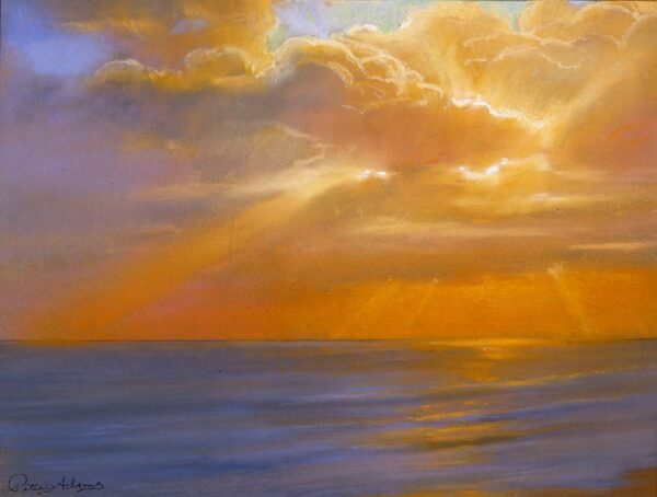 "American Legacy Fine Arts presents ""Autumn Sunset at Malibu"" a painting by Peter Adams."