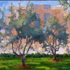 "American Legacy Fine Arts presents ""Cathedral of Our Lady of Angeles through the Olive Garden"" a painting by Peter Adams."
