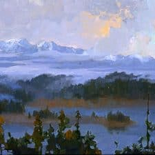 "American Legacy Fine Arts presents ""Could Opening over Trinity Alps; Shasta, California"" a painting by Peter Adams."