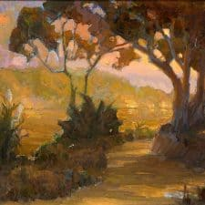 "American Legacy Fine Arts presents ""Eucalyptus Road at Dusk"" a painting by Peter Adams."