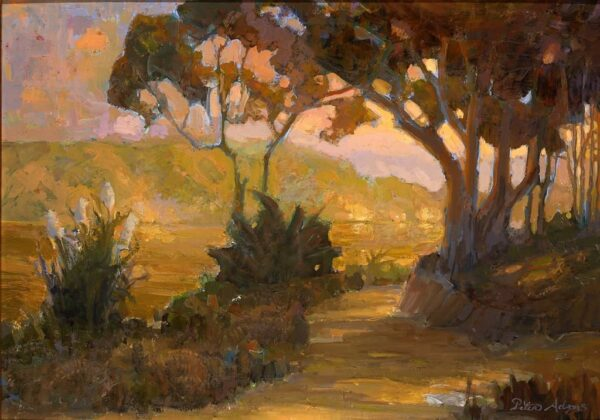 """American Legacy Fine Arts presents """"Eucalyptus Road at Dusk"""" a painting by Peter Adams."""