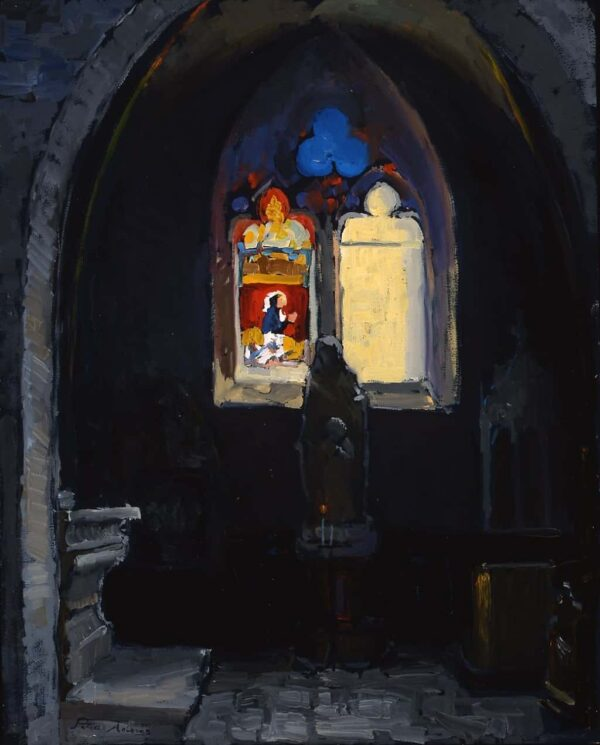"American Legacy Fine Arts presents ""Form and Void; Notre Dame Cathedral, Beaune, Burgundy"" a painting by Peter Adams."