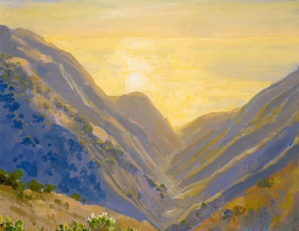 """American Legacy Fine Arts presents, """"Glare and Mist over Grand and Silver Canyon; Catalina"""" a painting by Peter Adams."""