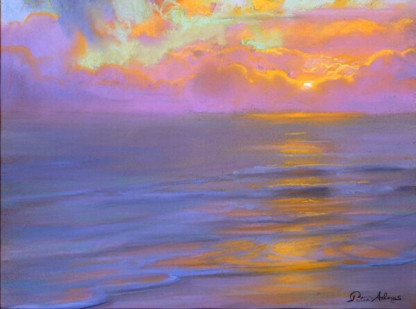"American Legacy Fine Arts presents ""Lavender Horizon and Westward Beach"" a painting by Peter Adams."