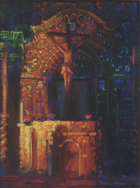 "American Legacy Fine Arts presents ""Light in Serra Chapel"" a painting by Peter Adams."