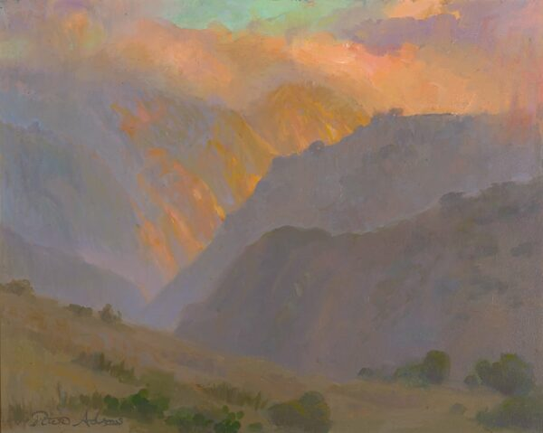 "American Legacy Fine Arts presents ""Afternoon Fogbank over Silver Canyon, Catalina Island"" a painting by Peter Adams."