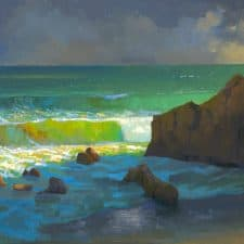 "American Legacy Fine Arts presents ""Afternoon Storm Clouds over Leo Carillo Beach"" a painting by Peter Adams."