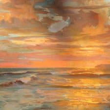 "American Legacy Fine Arts presents ""Autumn Sunset; St. Malo beach"" a painting by Peter Adams."