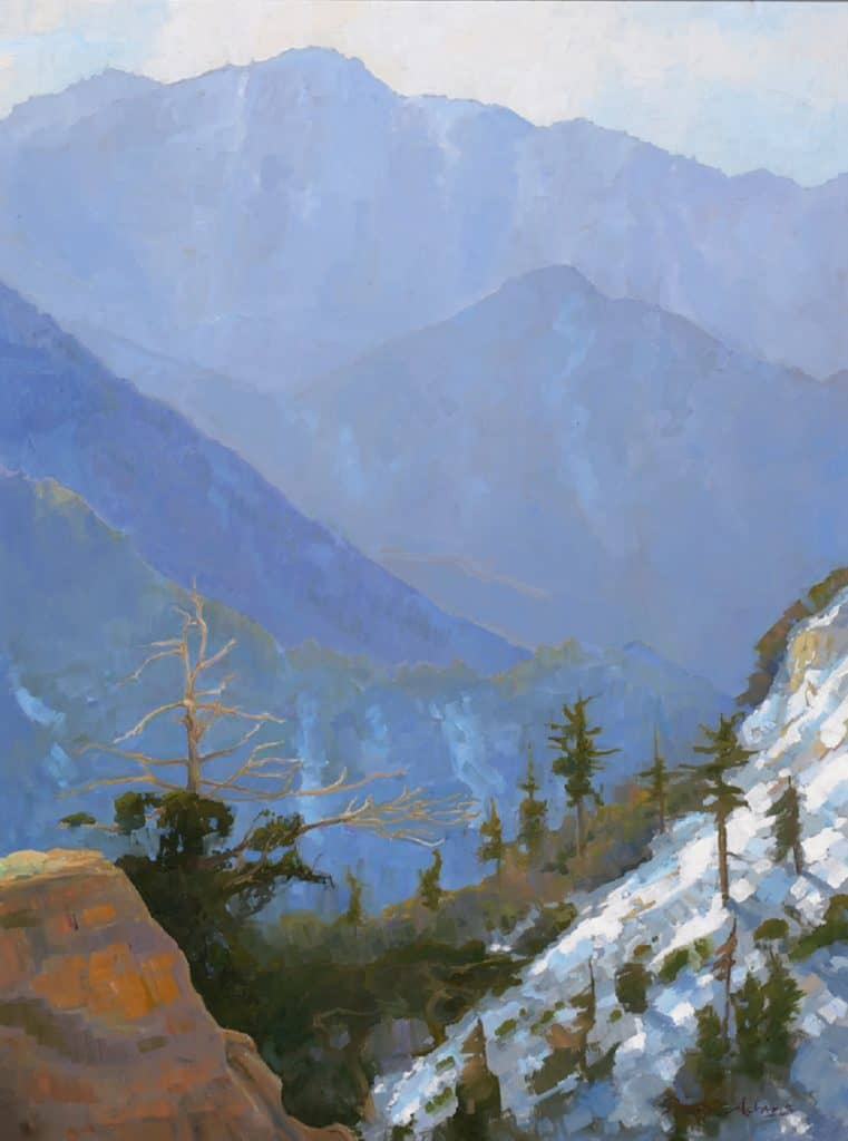 "American Legacy Fine Arts presents ""Backlit View of Twin Peaks, San Gabriel Mountains"" a painting by Peter Adams."