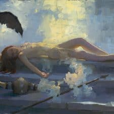 "American Legacy Fine Arts presents ""Brunhilde Sleeps"" a painting by Peter Adams."