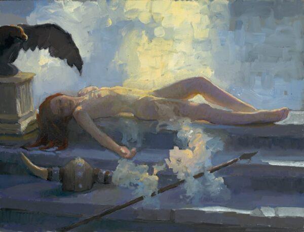 "American Legacy Fine Arts presents ""Brunhilde Sleeps"" a painting by Peter Adams."