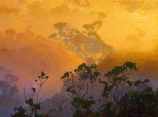 "American Legacy Fine Arts presents ""California Wilderness in Fog; Palo Alto"" a painting by Peter Adams."