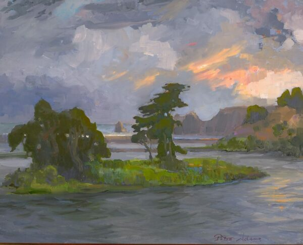 "American Legacy Fine Arts presents ""Caught in Storm; Russian River Delta"" a painting by Peter Adams."