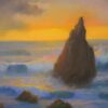 "American Legacy Fine Arts presents ""Coming Storm at Sunset Sharks Cove, Catalina"" a painting by Peter Adams."