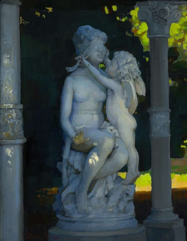 "American Legacy Fine Arts presents ""Cupid and Psyche; Huntington Gardens"" a painting by Peter Adams."