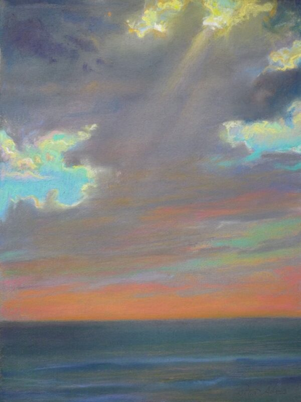 "American Legacy Fine Arts presents ""Dissipating Storm Clouds; St. Malo Beach"" a painting by Peter Adams."