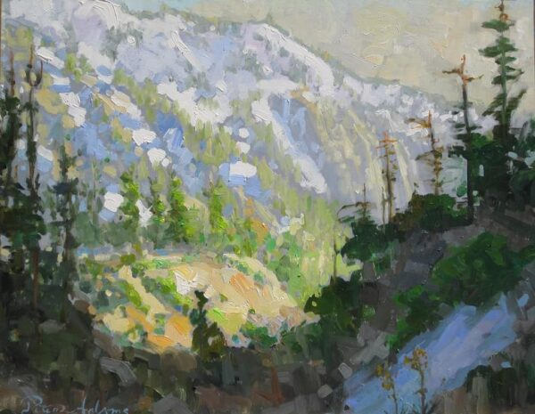 "American Legacy Fine Arts presents ""Early Spring Afternoon Light on Mt. Baldy"" a painting by Peter Adams."