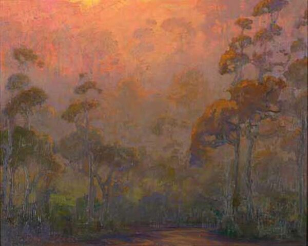 "American Legacy Fine Arts presents ""Eucalyptus Evening; Carlsbad"" a painting by Peter Adams."