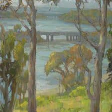 "American Legacy Fine Arts presents ""Eucalyptus at Batiquitos"" a painting by Peter Adams."