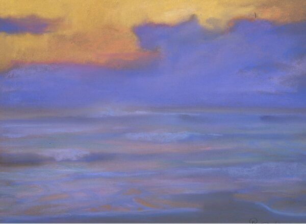 "American Legacy Fine Arts presents ""Evening Fog Bank at Zuma"" a painting by Peter Adams."