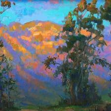 "American Legacy Fine Arts presents ""Evening Glow on Mt. Lowe"" a painting by Peter Adams."