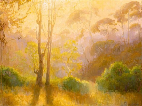 "American Legacy Fine Arts presents ""First Morning Light; Batiquitos Lagoon, California"" a painting by Peter Adams."