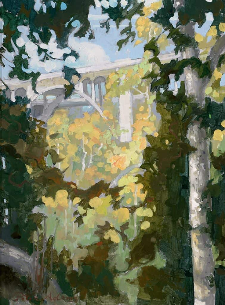 "American Legacy Fine Arts presents ""Foliage and Structure; Colorado Street Bridge, Arroyo Seco , Pasadena"" a painting by Peter Adams."