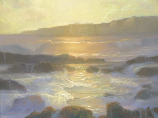 "American Legacy Fine Arts presents ""Golden Tide Pools; Abalone Cove"" a painting by Peter Adams."