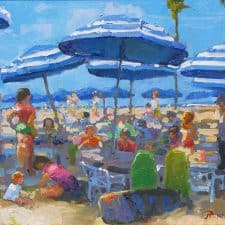 "American Legacy Fine Arts presents ""Lunch Time Under the Umbrellas"" a painting by Peter Adams."