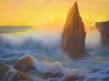 "American Legacy Fine Arts presents, ""Monoliths at Sunset Sharks Cove Catalina"" a painting by Peter Adams."
