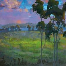 "American Legacy Fine Arts presents ""Moonrise over Batiquitos Lagoon"" a painting by Peter Adams."