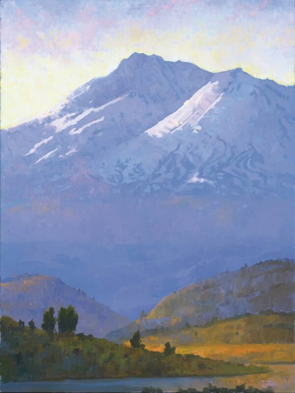 "American Legacy Fine Arts presents ""Morning Light on Mt. Shasta"" a painting by Peter Adams."