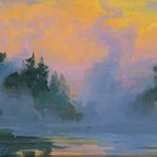 "American Legacy Fine Arts presents ""Morning Mist; Yellowstone National Park"" a painting by Peter Adams."