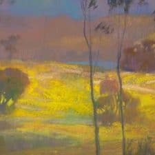 "American Legacy Fine Arts presents ""Mustard Field; Batiquitos Lagoon"" a painting by Peter Adams."