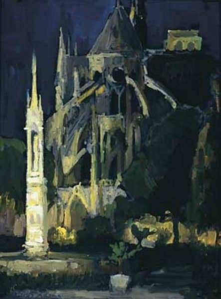 "American Legacy Fine Arts presents ""Notre Dame Cathedral before Midnight, Paris"" a painting by Peter Adams."