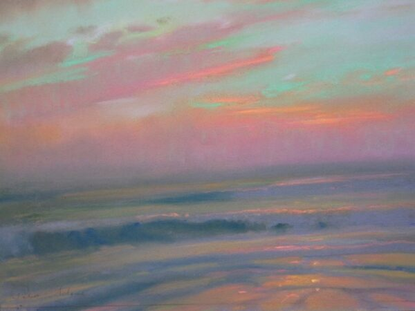 "American Legacy Fine Arts presents ""Opalescent Sunset; St. Malo"" a painting by Peter Adams."