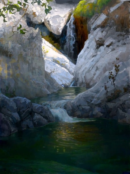 "American Legacy Fine Arts presents ""Pools Above Sturtevant Falls; San Gabriel Mountains"" a painting by Peter Adams."
