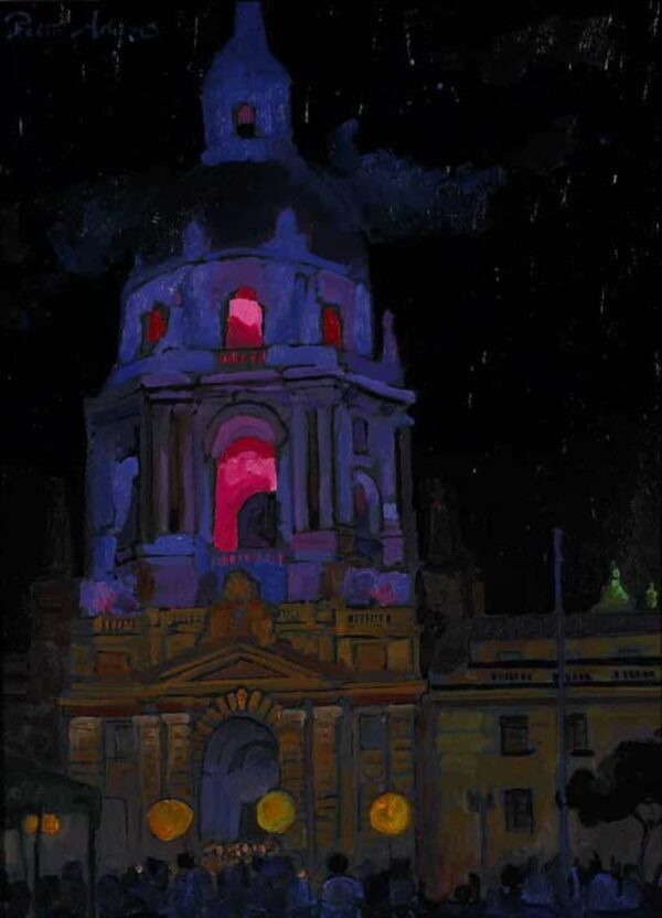 "American Legacy Fine Arts presents ""Reopening Celebration of City Hall; Pasadena, July 15, 2007"" a painting by Peter Adams."