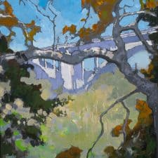 "American Legacy Fine Arts presents ""Rosey's View of the Arroyo"" a painting by Peter Adams."