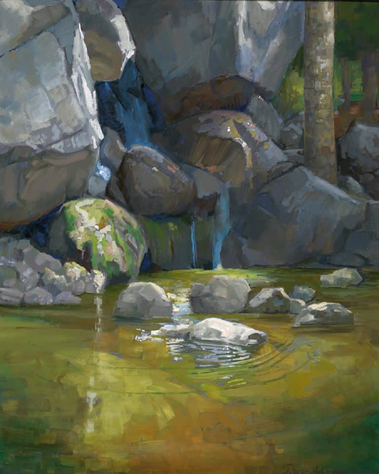 "American Legacy Fine Arts presents ""San Gabriel Pool"" a painting by Peter Adams."