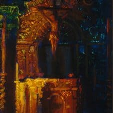 "American Legacy Fine Arts presents ""Serra Altar, Misssion San Juan Capistrano"" a painting by Peter Adams."
