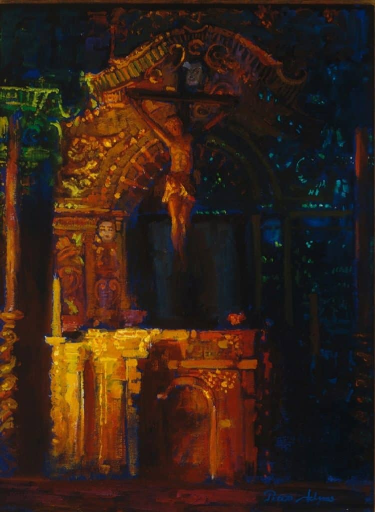 "American Legacy Fine Arts presents ""Serra Altar, Misssion San Juan Capistrano"" a painting by Peter Adams."