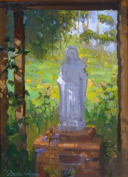 "American Legacy Fine Arts presents "" St. Theresa in the Garden' a painting by peter Adams."