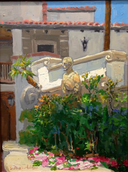 "American Legacy Fine Arts presents ""Statue of Juan Cabrillo"" a painting by Peter Adams."