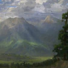 "American Legacy Fine Arts presents ""Storm Break over Little Bear and Mt. Blanca"" a painting by Peter Adams."