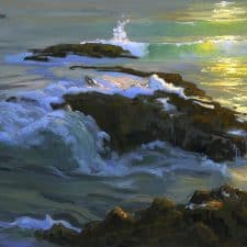 "American Legacy Fine Arts presents ""Summer Light at Woods Cove"" a painting by Peter Adams."