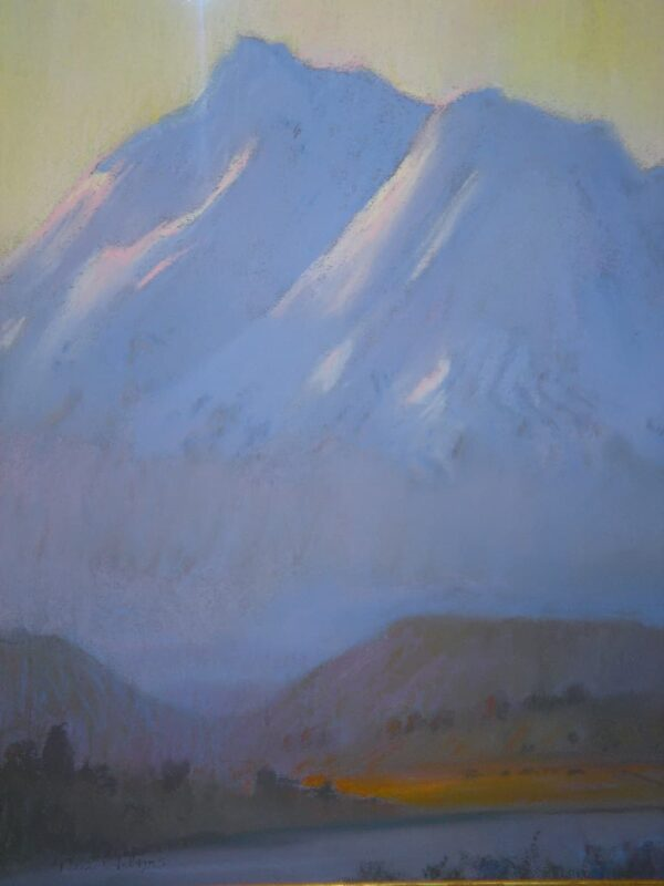 "American Legacy Fine Arts presents ""Sunrise on Mount Shasta"" a painting by Peter Adams."